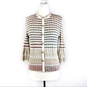 St John Sport Sweater Multi Stripe Cardigan L